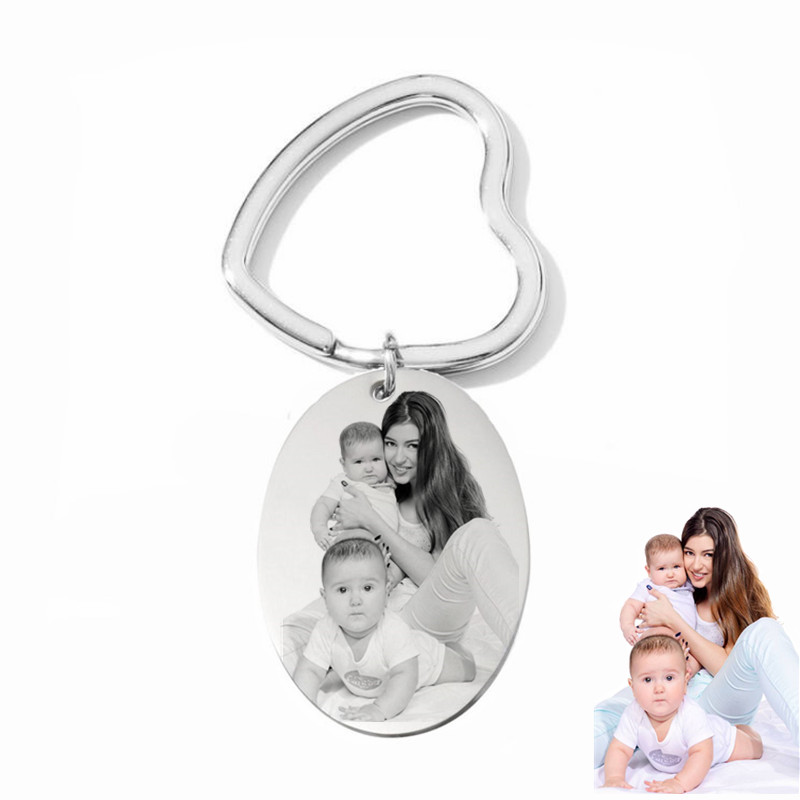Custom Photo Engraved KeyChains Women Gift,Stainless Steel Personalized Picture Engraved Key Rings For Keepsake Carabinner Keys