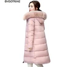 Big Fur Winter Thick Coat Slim fashion Long Winter Down Cotton Parka Women Down Jacket Female Warm Winter Outerwear 2017 A0026
