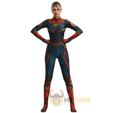Filme adulto Superhero Capitão Marvel Carol Danvers Zentai Suit Cosplay Halloween Costume(China)