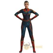 ผู้ใหญ่ซูเปอร์ฮีโร่Captain Marvel Carol Danvers Zentaiคอสเพลย์ฮาโลวีนเครื่องแต่งกาย