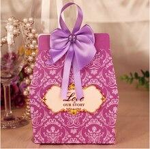 200 Unids/lote Nuevo Color Caramelo Caja del Favor de la Boda Caja Con Bowknot 6.5*3.5*10.5 CM Púrpura