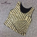 LAST ONE New Stunning Golden Sequins Slim Cropped Tops For Women Party Clubwear femme Vest Tanks Camisole Sleeveless Shirts Tees