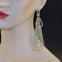 Chran Luxury New Earing Wedding Bridal Rhinestone Crystal 5 Long Silver Gold Tone Dangle Chandelier Drop