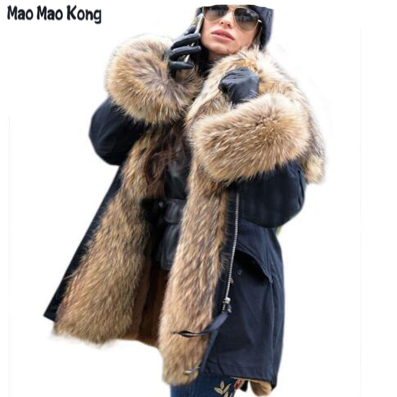 Big real raccoon fur collar Real natural Fur Coat winter jacket Long Women raccoon fur liner hooded   parkas