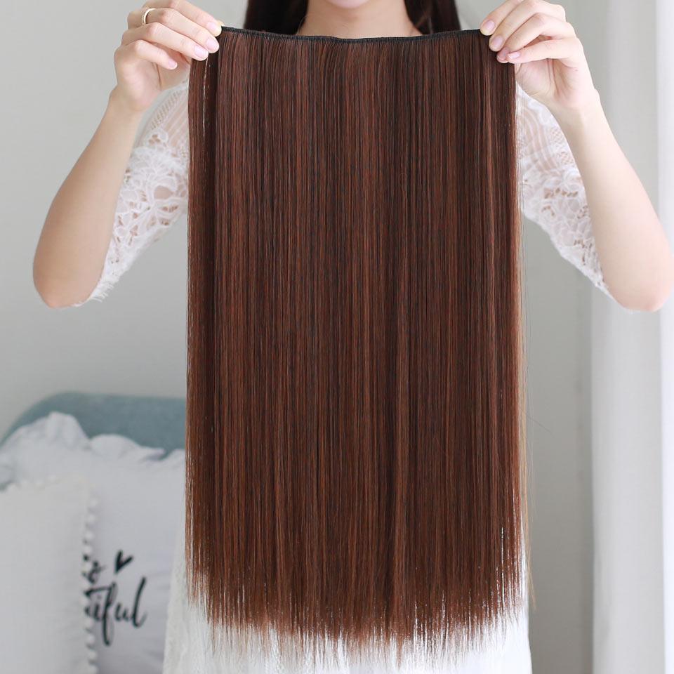 AOSIWIG 5 Clip Long Straight Naturliga Hårförlängningar High - Syntetiskt hår - Foto 2