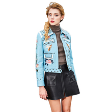 Europe Style Fashion New Women's Spring Jacket Rivet Embroidery Leather Jacket Basic Bomber Motorcycle Really Sheepskin Jacket