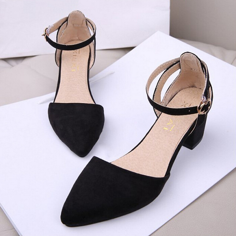 Hot Fashion Nubuck Leather Women Summer Shoes Europe and Americal Style Pointed Toe Thick Heels Sandals