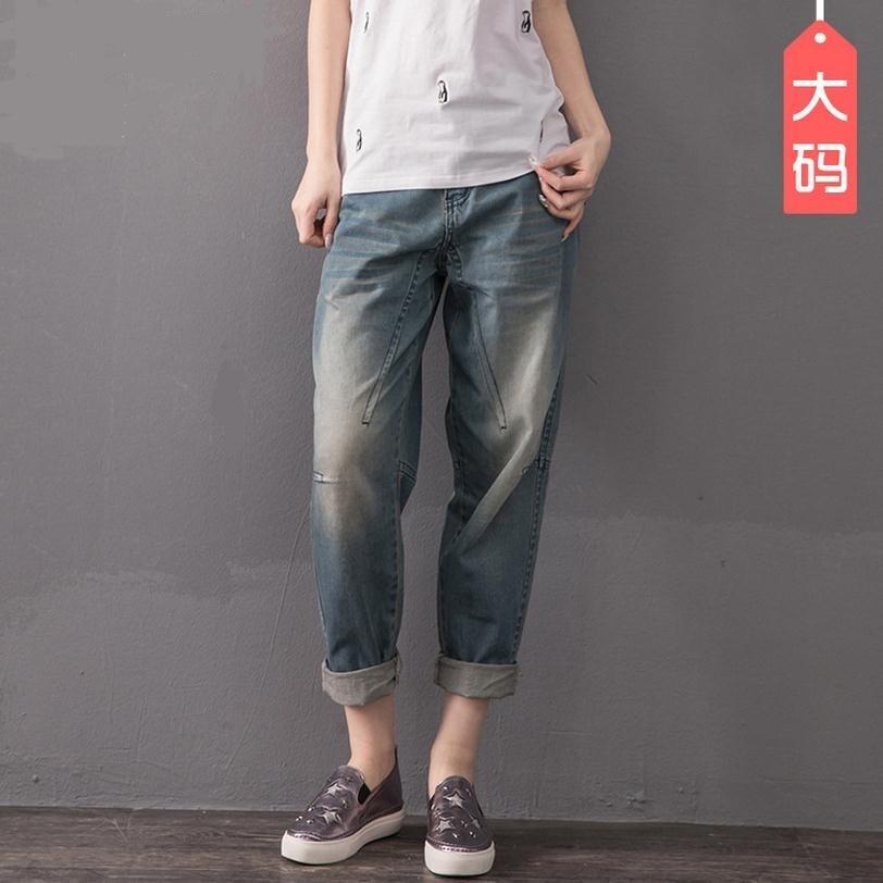 2XL 8XL plus size cotton Ankle Length Pants 2017 new fashion women s stiching bleached jeans