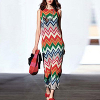 Runway Designer Dresses Summer Bohemian Sleeveless Knitted Rainbow Striped Elastic Maxi Dress High Quality Long Party Dresses