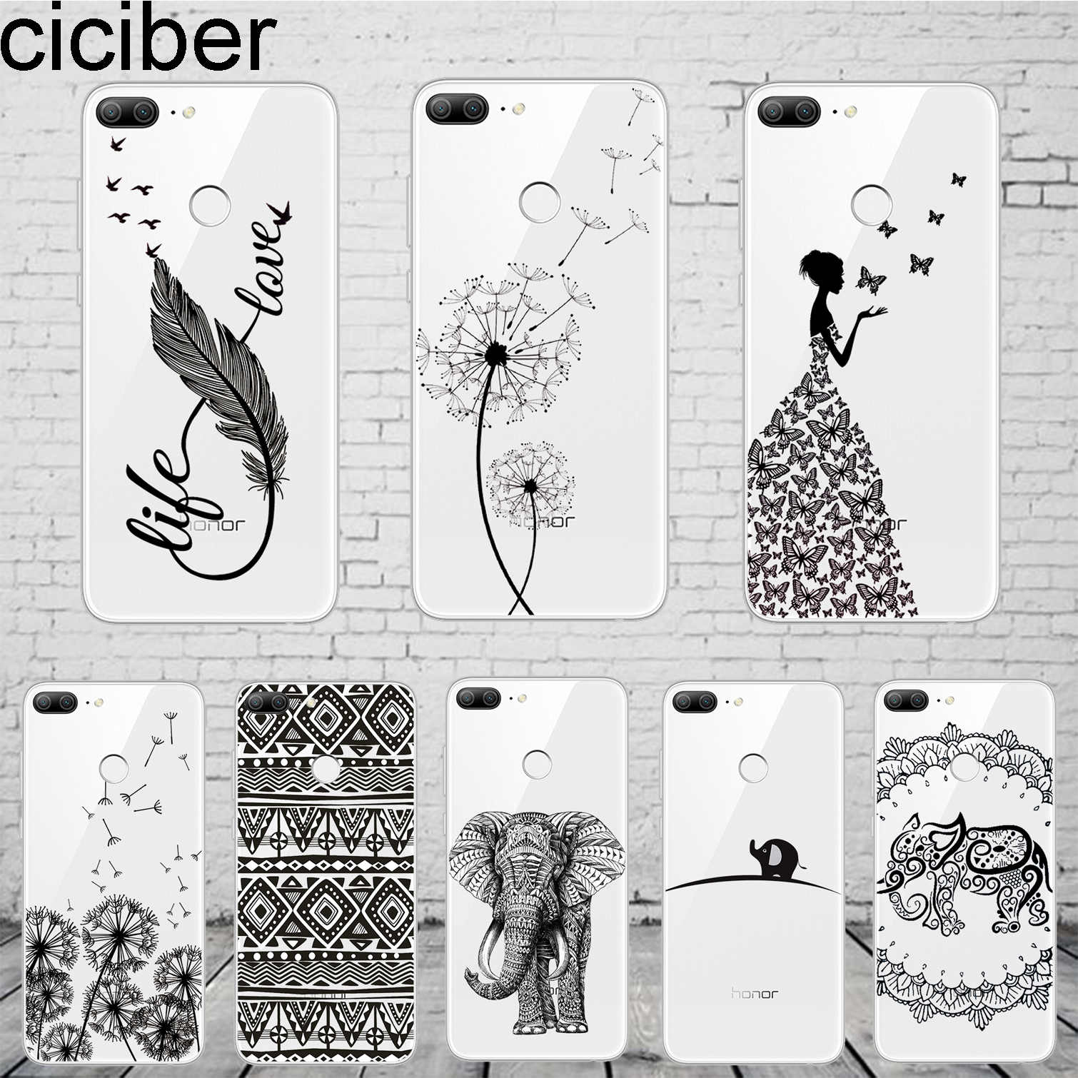 ciciber Totem Dandelion Elephant Cover For Honor 8X 7A 8C 6X 9 10 Lite Pro Lite Play V10 Phone Case Soft TPU Capinha Shell Coque