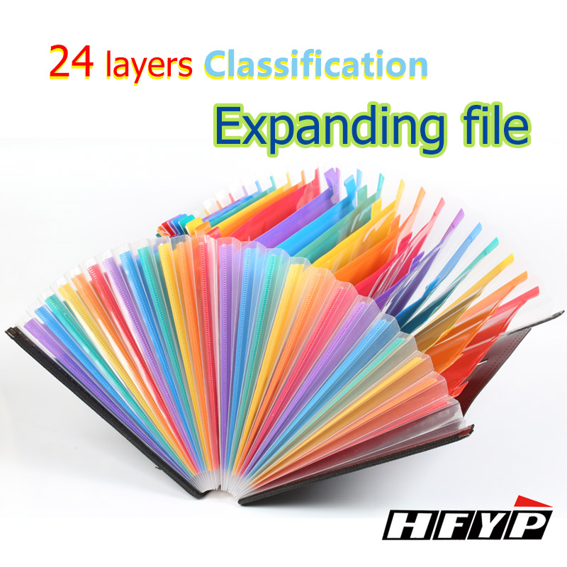 HFYP H-58 24 camada Expandindo Carteira Saco de documentos Pasta de Arquivo A4 caixa de armazenamento de Desktop Organizador Suporte de Papel colorido Originalidade
