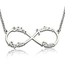 925 Infinito Collar de Plata de Ley 4 Collar de Nombres Interminable Amor Amistad Regalo DIY Nombre Personalizado Collar