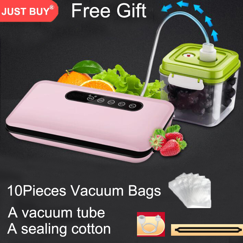 220V Household Food Vacuum Sealer Packaging Machine Film Sealer Vacuum Packer Including 10Pcs Bags