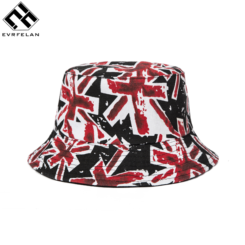 Evrfelan Fashion Unisex Bucket Hat Fishing Outdoor Printed Sunhat Men's Summer For Fisherman Hat Women 2019 New bone