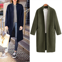 Hodisytian Winter Fashion Women Long Wool Blends Coat Elegant Casual Thick Cardigan Solid Female Cashmere Overcoat Plus Size 4XL