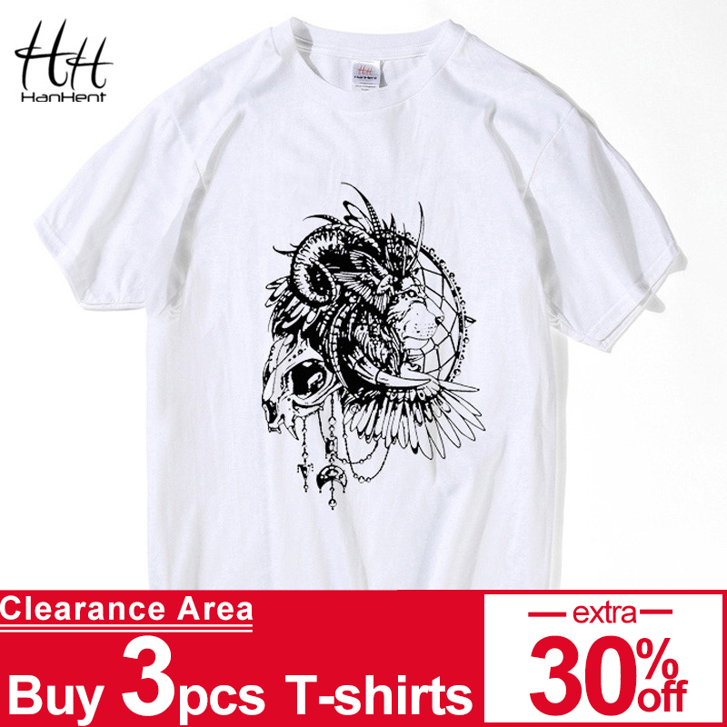 HanHent King Men Hip Hop Skull Shirt Men Short Sleeve T-shirt Swag Rock Tshirt Homme Clothing White Tee shirts Black TH5259