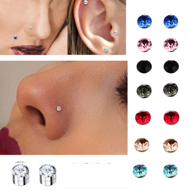 Us 8 55 10 Off Crystal Magnetic Stud Earring Fake Magnet Nose Ear Lip Stud Non Piercing Tragus Nose Stud 8 Pairs Pack In Body Jewelry From Jewelry