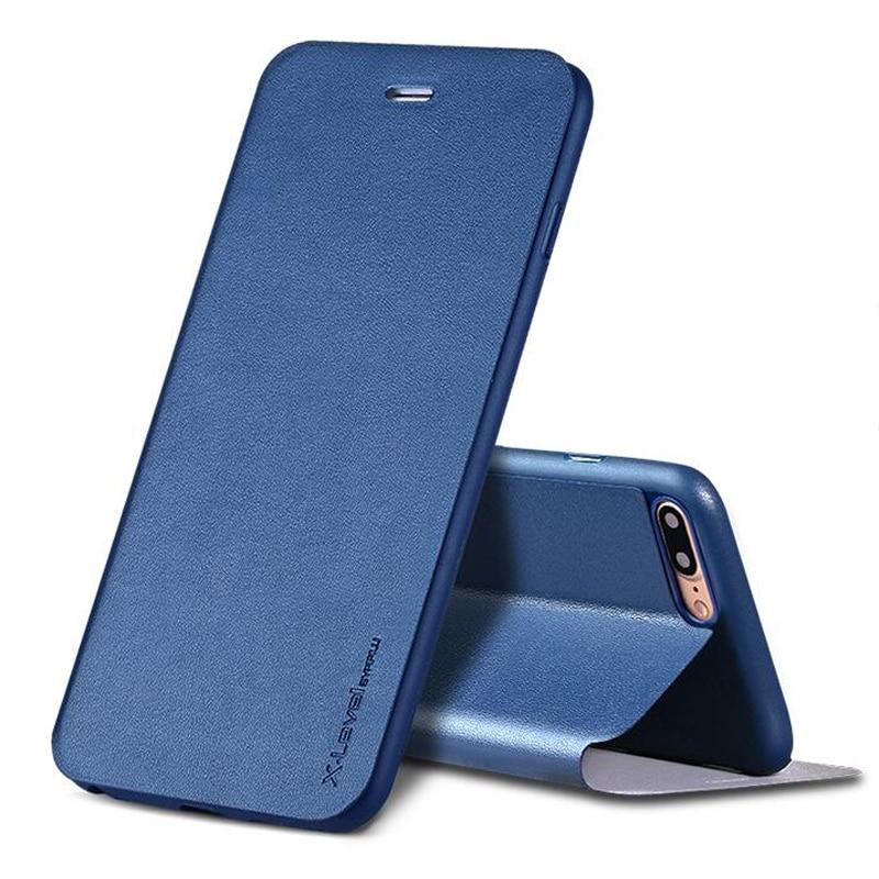 imágenes para X Nivel Marca case Para el iphone 7 Más caja del teléfono para el iphone 7 con todo incluido de lujo flip protectora caso con la función del sostenedor
