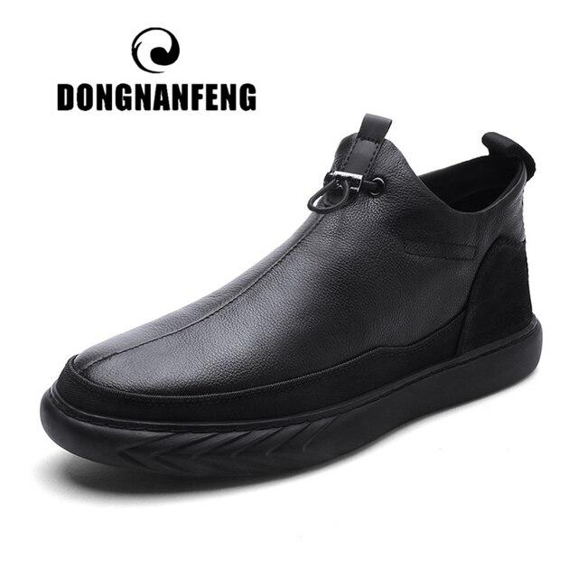 DONGNANFENG erkek Erkek Hakiki Deri Çizmeler Ayakkabı Sıcak Rahat İngiliz Bahar Kış Kürk Peluş Elastik Bant Boyutu 38- 44 XCR-7217