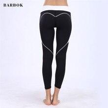 BARBOK Herz-förmige Hüfteyogahosen-Seitentascheneignung trägt dünne Mädchenfrauenhose zur schau, die laufende Leggings der Turnhalle laufen lässt