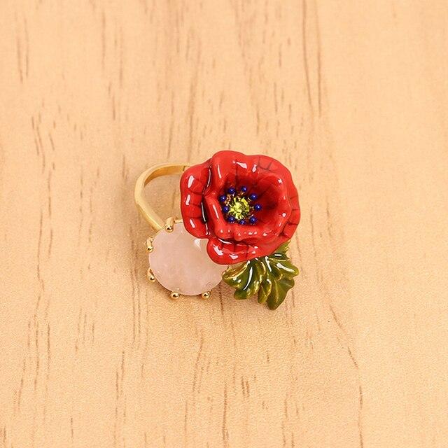 France Les Nereides Flower Gem Opening Ring For Women Noble Elegant Party Rings Brand Jewelry Good Quality