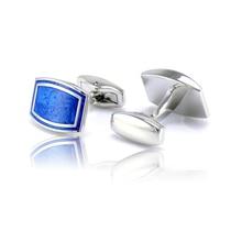 Luxury Arc Rectangle Men Shirt Cufflinks Brand Elegant Blue Printing Cuff Buttons Laser Engraved Shiny High Quality Jewelry