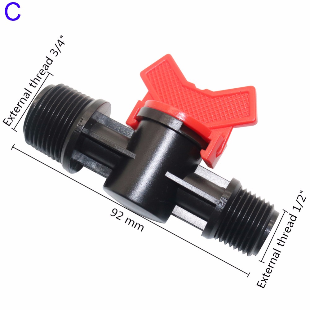 5 Pcs Plastic Coupling Pipe Irrigation Hose Switch Valve 3 Models Switches Garden Watering Supplies External Thread
