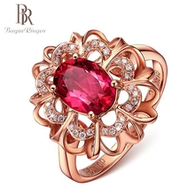 Bague Ringen 2ct Natural Oval Red Ruby Gemstone Rings For Women 925 Sterling Silver Jewelry Rose Gold Romantic Wedding Ring NEW 18 k gold natural ruby jewelry set