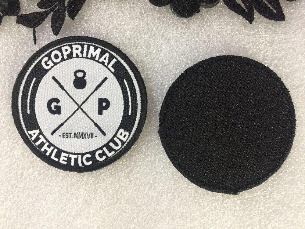 Logotipo personalizado parches tejidos gancho y lazo insignias Merrow Border ropa parches de alta calidad etiquetas tejidas para bolsas de ropa gorras-in Parches from Hogar y Mascotas    1