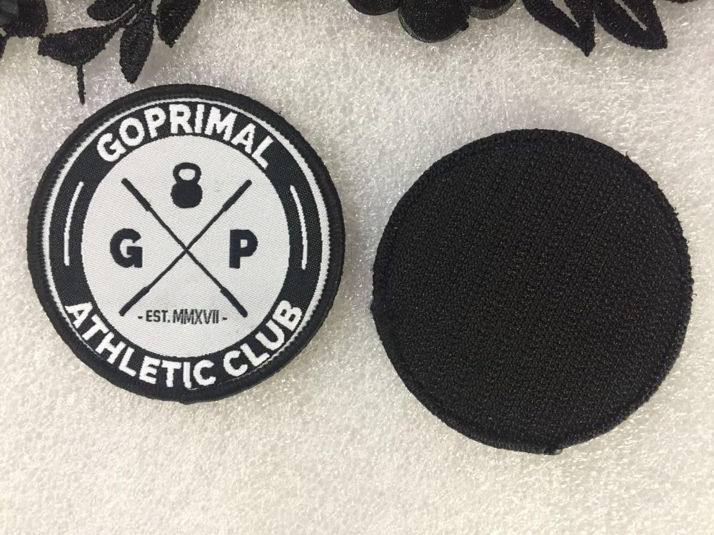 Ev ve Bahçe'ten Yamalar'de Özel Logo dokuma yamalar cırt cırt rozetleri Merrow Sınır Giyim yamalar için Yüksek Kaliteli Dokuma etiketler Giysi çanta kapakları'da  Grup 1
