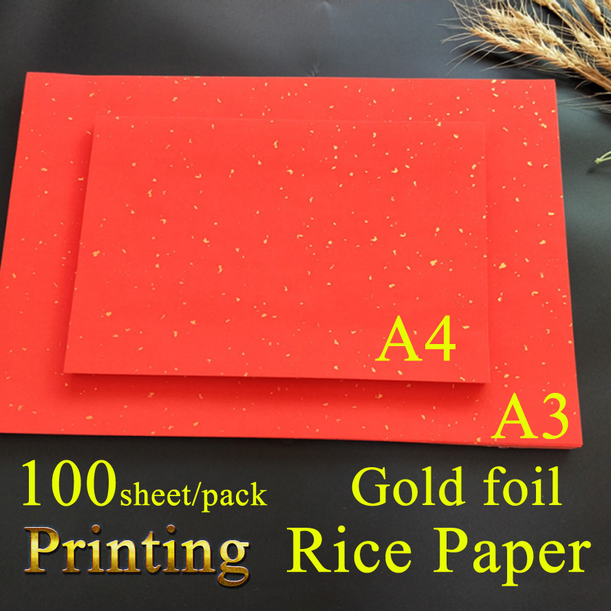 A3/A4 Printing Red Rice Paper with Gold foil Chinese Painting Calligraphy Xuan Paper for wedding Invitation Paper-cut
