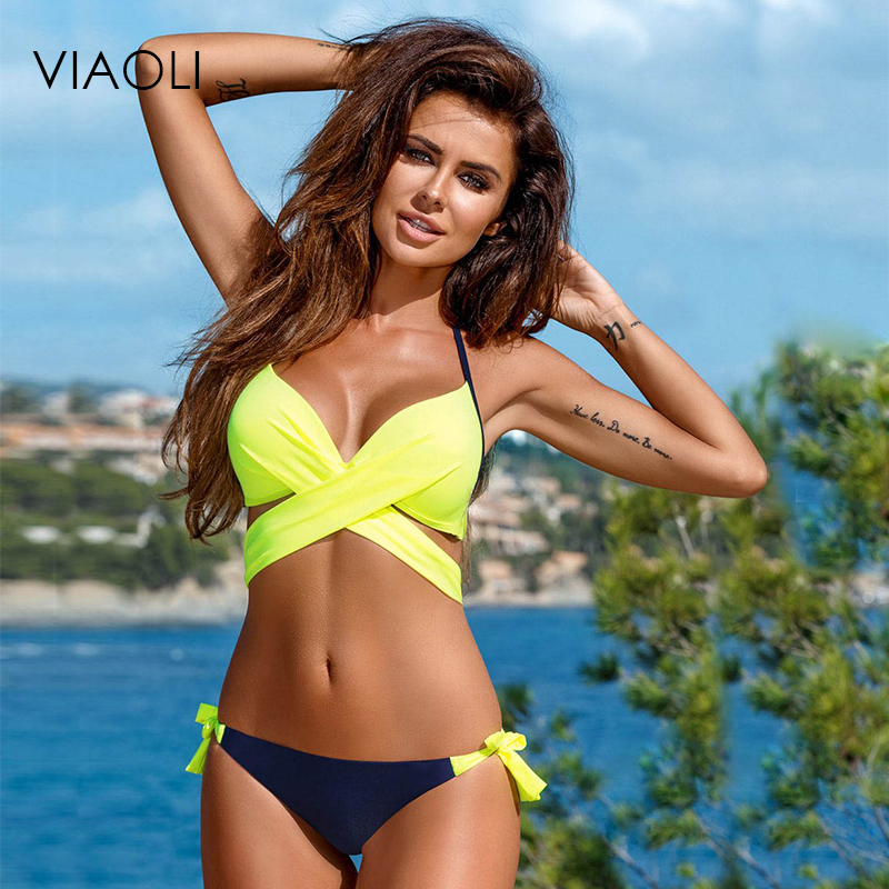 VIAOLI Minimalism Push Up Bikini 2018 Cross Patchwork Women Swimwear Swimsuit Halter Top Print Patterns Bigini Bathing Suits