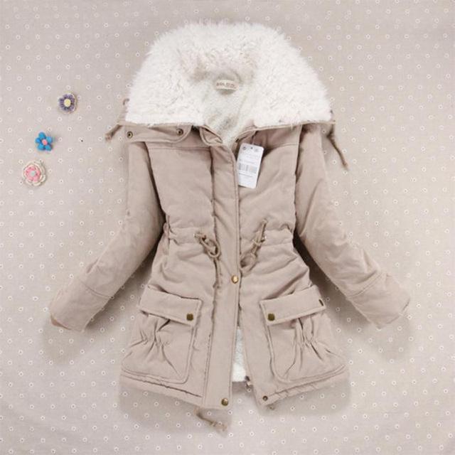 Casaco de inverno Quente Mulheres de Slim Plus Size Além Disso Velet Outwear Médio-Longo Wadded Jaqueta Grossa de Algodão Com Capuz Amassado Quente