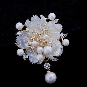Image 3 - מדהים בציר לבן אמא של פרל פרח סיכות CZ המרקיזה עלה זהב טון פיסטיל שזיף פריחת סאקורה סיכות סיכת תכשיטים