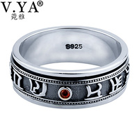 V YA 925 Sterling Silver Rings For Men Big Size 12 Punk Retro Thai Silver Mantra
