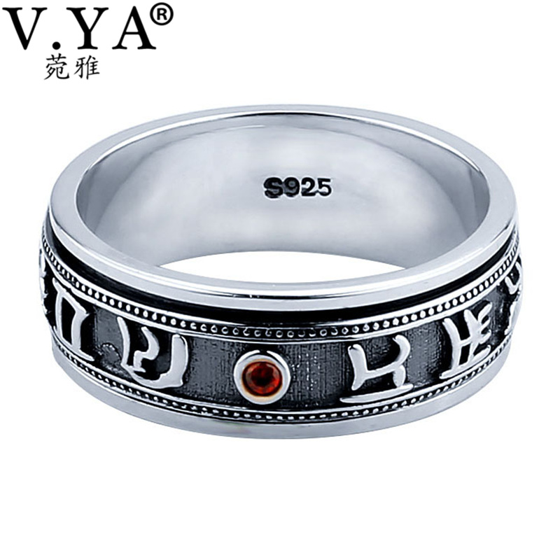 V.YA 925 Sterling Silver Rings for Men Big Size 12 Punk Retro Thai Silver Mantra Amulet Ring for Women Black Design Punk Jewelry цены онлайн