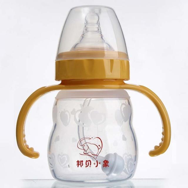 Nova marca durável fralda infantil bebê canudo de plástico 160 ml garrafa garrafa cabaça com alça de Silicone mamadeira de alimentação automática