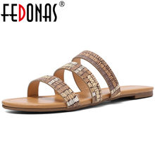 FEDONAS 2019 New Fashion Punk Blingbling Microfiber Leather Women Sandals Slip on Comfortable Women Flats Slippers Casual Shoes(China)