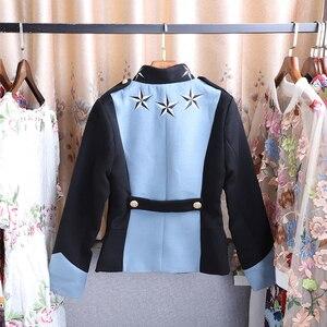 Image 3 - SEQINYY Herbst Jacke 2020 Winter Hohe Qualität Stern Stickerei Tasten Blau Schwarz Frauen Langarm Warme Kurze Top