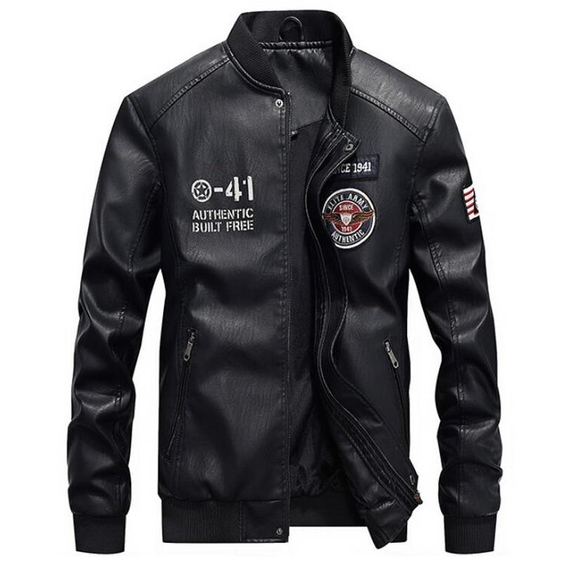 Hommes mode broderie 4XL moto vestes PU cuir veste hommes nouvelle marque printemps automne col montant Baseball en cuir manteau - 4