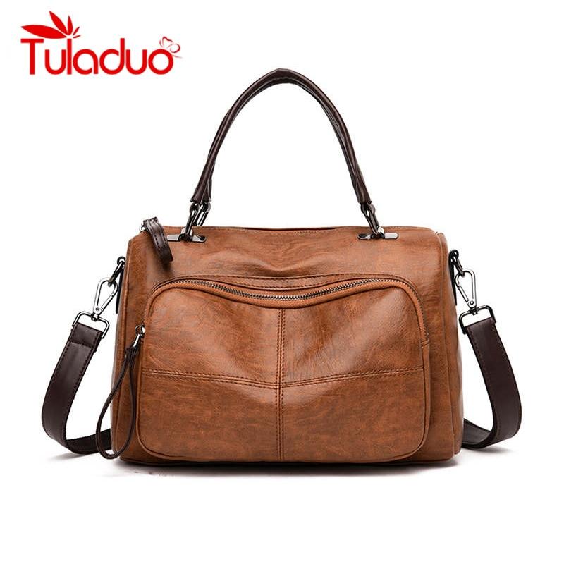 Women Bag 2019 Vintage Over Shoulder Handbags Soft Leather Crossbody Bags For Ladies Boston Bolsa Feminina