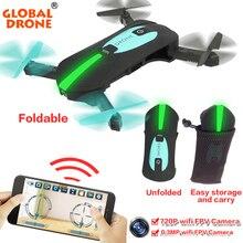 Global GW018 Plegable de Quadcopter Drone Autofoto Dron Helicóptero Mini Nano WIFI Drones Puede Llevar Con 720 P HD Cámara de Bolsillo Drone