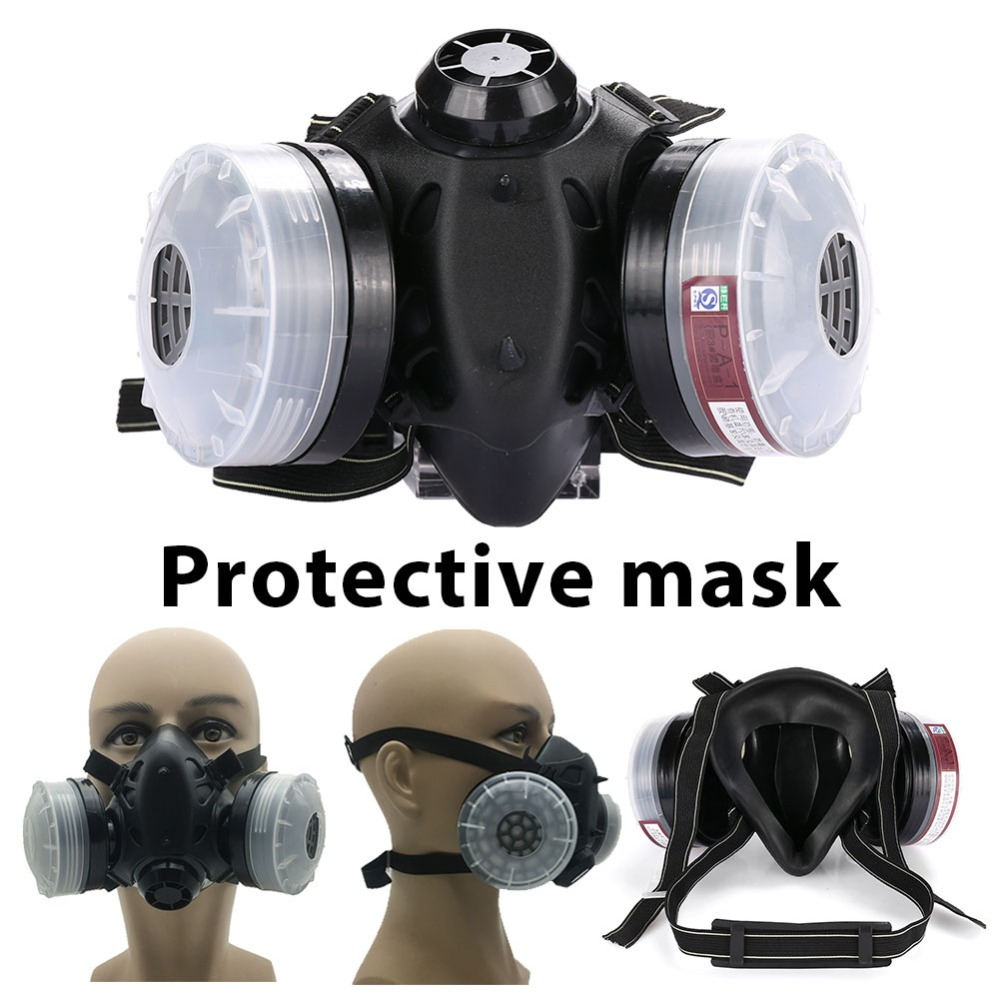 giantree Gas Mask Half Face Painting Filter Breathing Respirators Protective Mask Anti Dust Mask with 2 Filter Box Spray цена