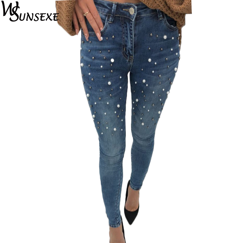 Pearl Beaded Jeans Casual Women Stretch Skinny Jeans Spring New