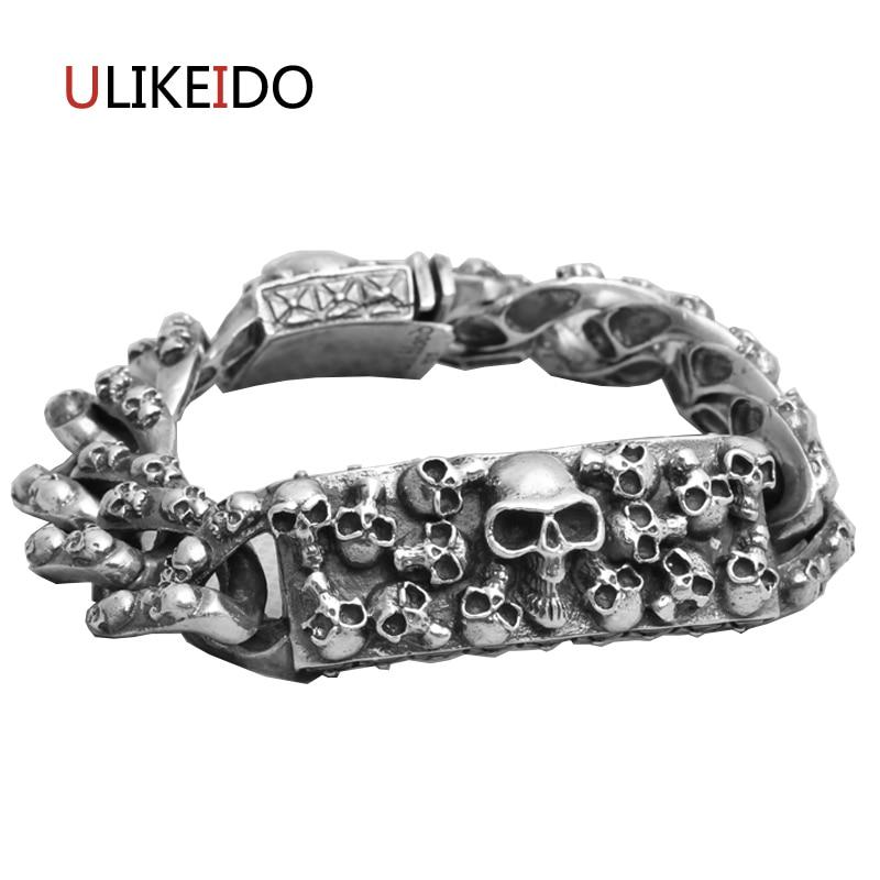 925 Sterling Silver Mens Skull Bracelets Domineering Punk Hand Chain For Men Or Women Special Jewelry Charm Skeleton Bracelet 925 silver bracelet men mens bracelets 2017