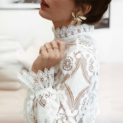 Sexy Perspective Women T-Shirt Summer White Hollow Loose Batwing Long Sleeve Tshirt Women Casual Lace Floral Fashion T Shirt Top 5