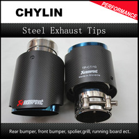 Car Styling 1Pair Inlet 63mm Outlet 90mm Akrapovic Carbon Fiber Exhaust End Tips High Quality Stainless