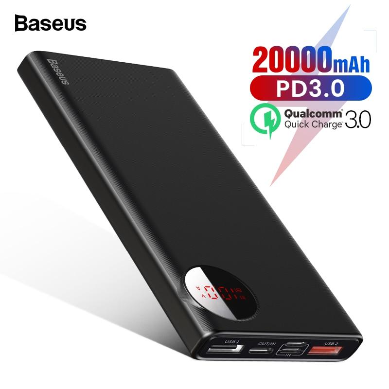 Baseus 20000 mAh Banco de la energía USB C de carga rápida 3,0 20000 mAh Pover Poverbank para Huawei Xiaomi batería externa paquete de energía