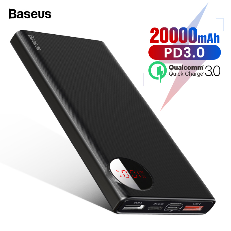 Baseus 20000 mAh Power Bank USB C PD Quick Charge 3,0 20000 mAh Pover Poverbank Für Huawei Xiaomi Externe Batterie pack Power
