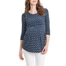 Женская блузка в горошек с принтом для беременных, одежда с О-образным вырезом, хлопок, с рюшами сбоку, рукав 3 четверти, топы для беременных размера плюс#4